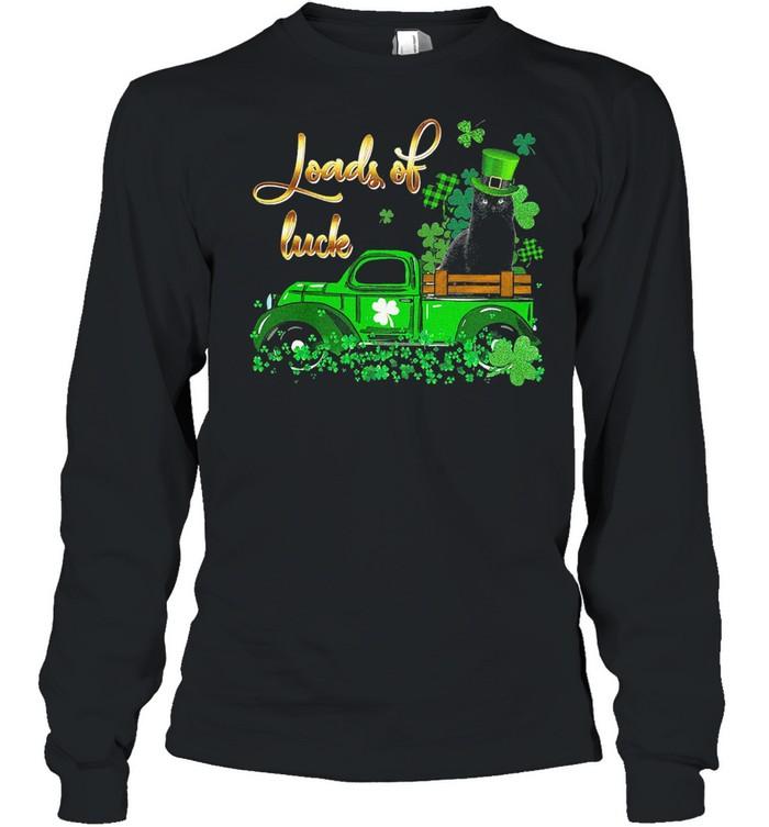 Black Cat loads of luck st patricks day shirt Long Sleeved T-shirt