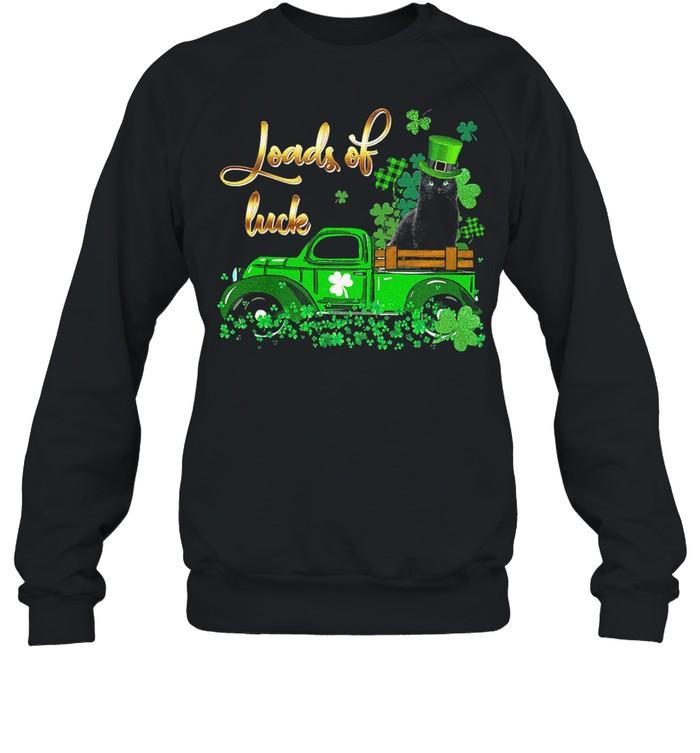 Black Cat loads of luck st patricks day shirt Unisex Sweatshirt