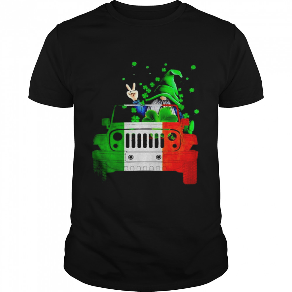 Gnome driving jeep St.Patrick's day shirt Classic Men's T-shirt