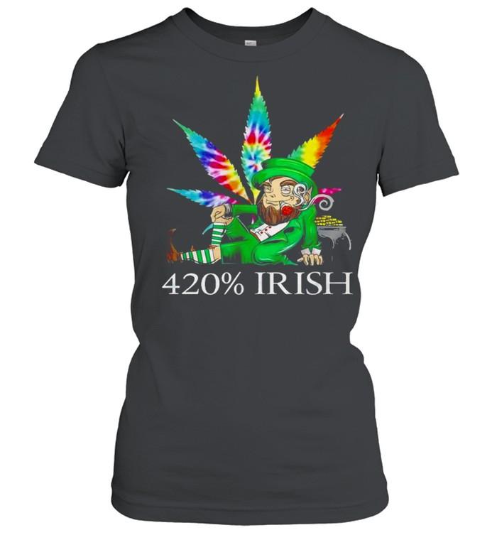 420% Irish Leprechaun Smoking Marijuana Leaf Tie Dye Patrick's Day Pot Of Gold Coins shirt Classic Women's T-shirt