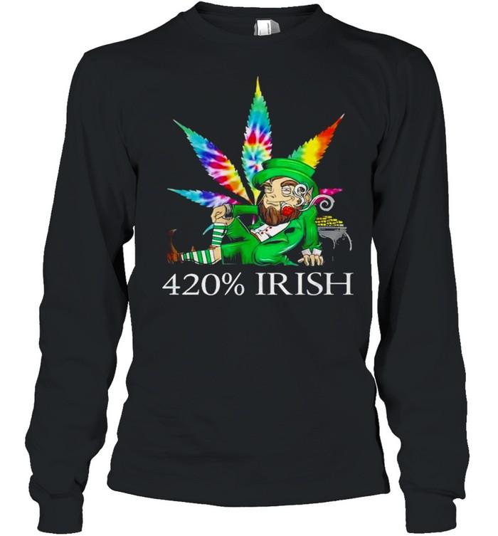 420% Irish Leprechaun Smoking Marijuana Leaf Tie Dye Patrick's Day Pot Of Gold Coins shirt Long Sleeved T-shirt
