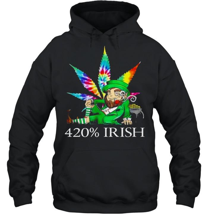 420% Irish Leprechaun Smoking Marijuana Leaf Tie Dye Patrick's Day Pot Of Gold Coins shirt Unisex Hoodie
