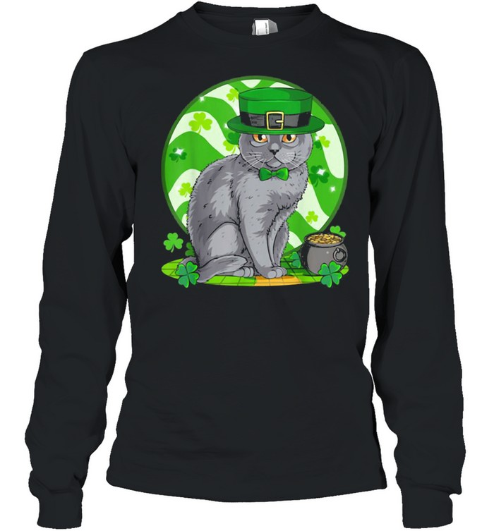 Awesome Chartreux Cat Leprechaun St. Patricks Day Long Sleeved T-shirt