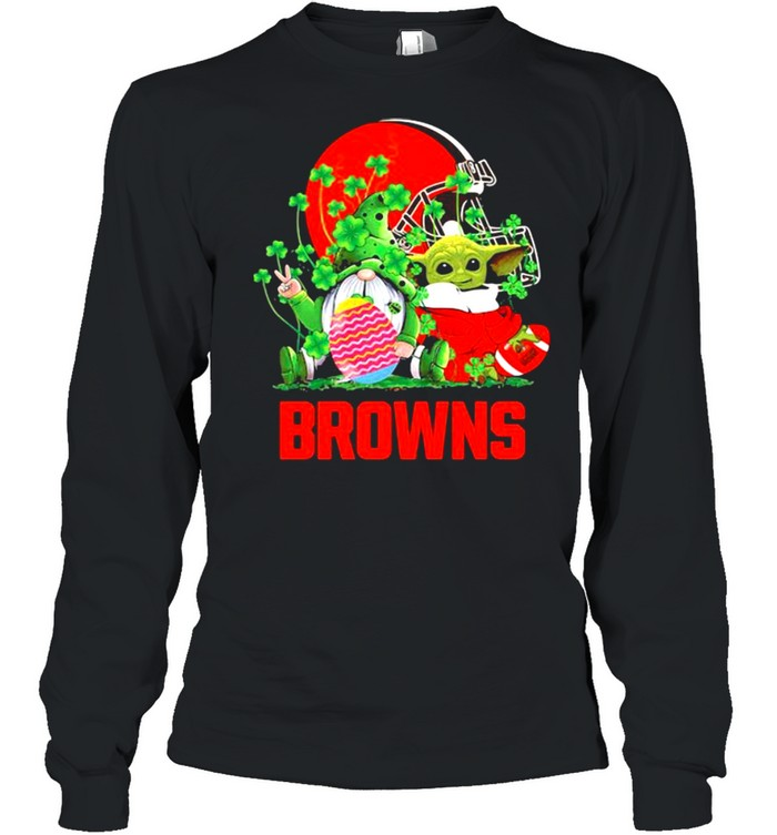 Browns Football Baby Yoda Vs Gnome Happy Easters And St Patricks Day Long Sleeved T-shirt