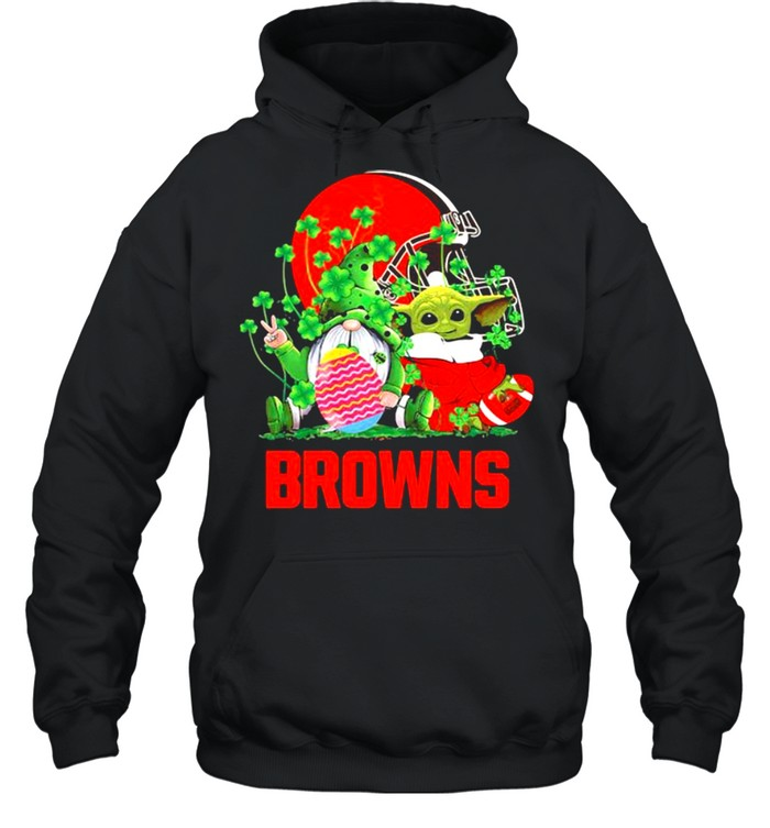 Browns Football Baby Yoda Vs Gnome Happy Easters And St Patricks Day Unisex Hoodie