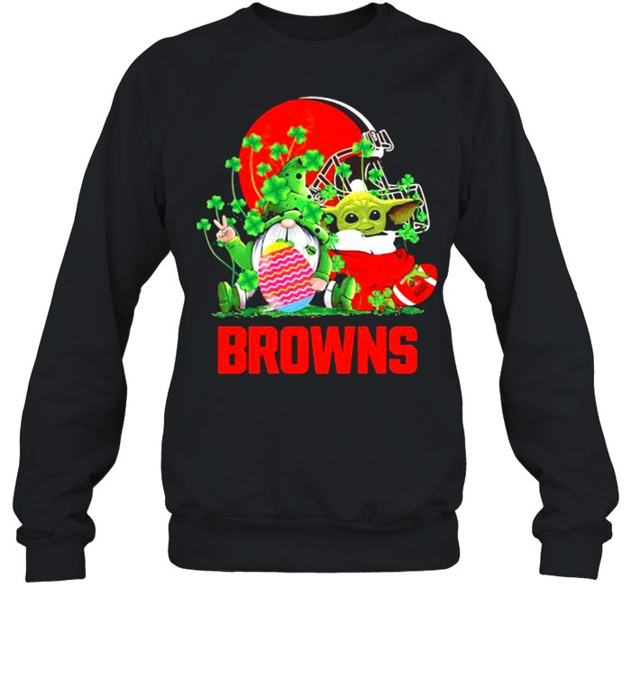 Browns Football Baby Yoda Vs Gnome Happy Easters And St Patricks Day Unisex Sweatshirt