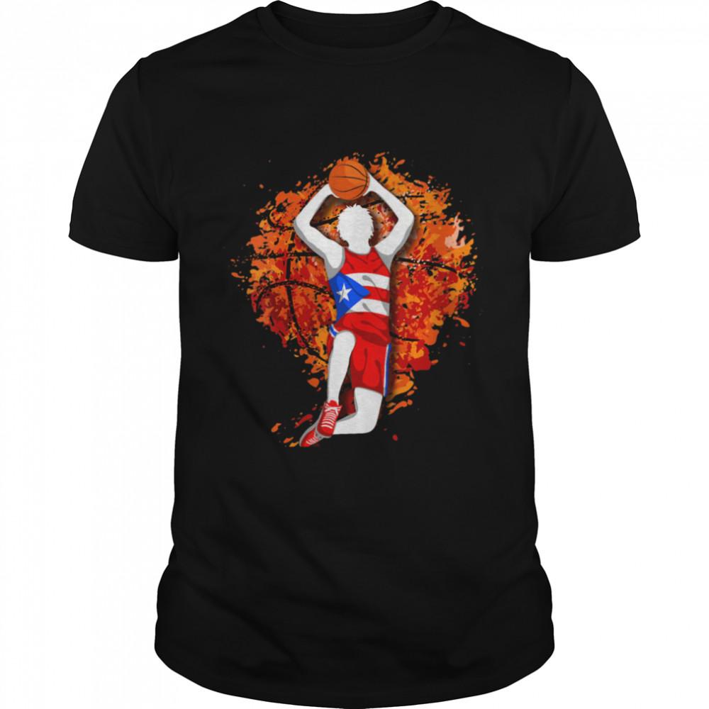 Womens Puerto Rico Basketball Puerto Rican Flag Mid Air Slam Dunk shirt Classic Men's T-shirt