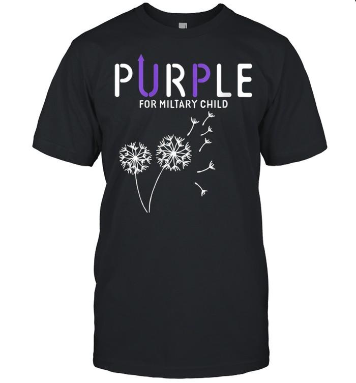 Womens Purple Up Soldier Military Child USA Flag Dandelion shirt Classic Men's T-shirt