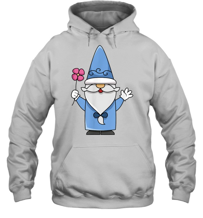 Gnome holding Flower Kind, Bearded Gnome shirt Unisex Hoodie