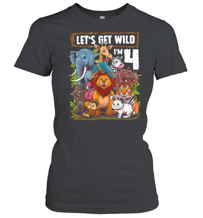 4 Year Old Zoo Birthday Safari Jungle Animals 4th Birthday T- Classic Women's T-shirt
