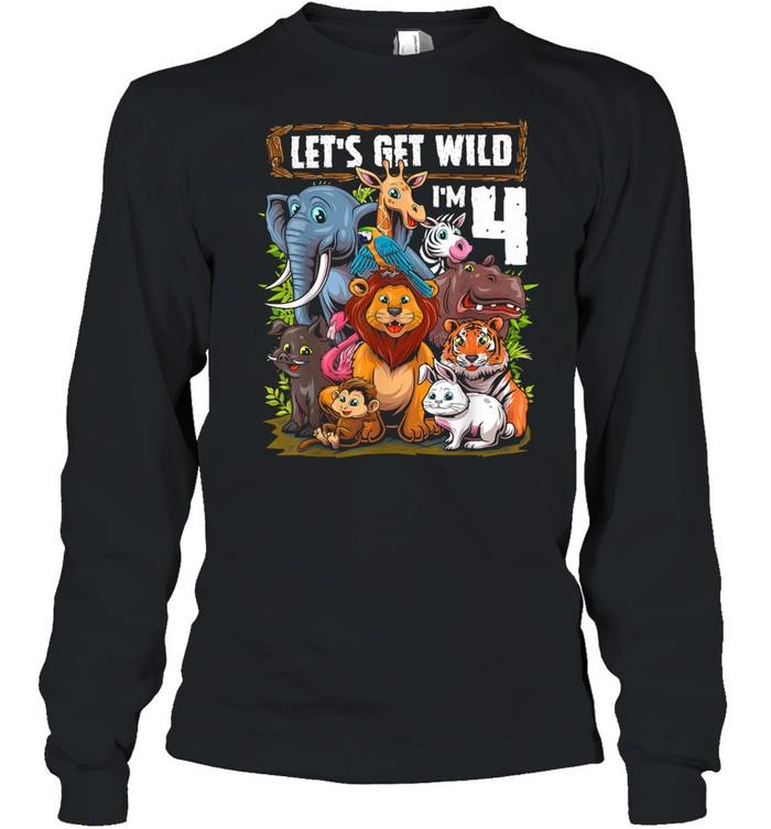 4 Year Old Zoo Birthday Safari Jungle Animals 4th Birthday T- Long Sleeved T-shirt