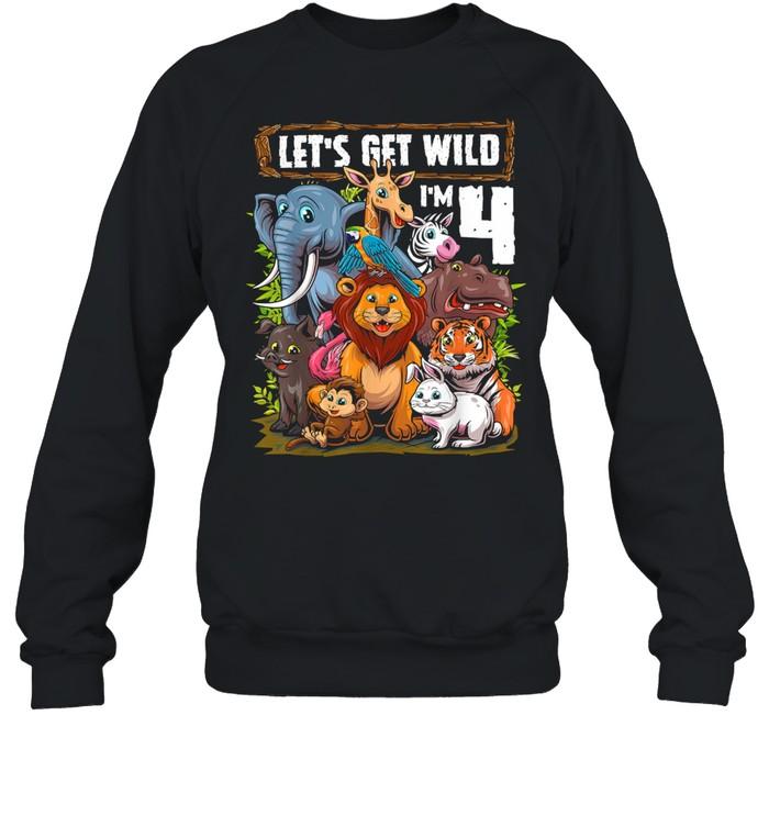 4 Year Old Zoo Birthday Safari Jungle Animals 4th Birthday T- Unisex Sweatshirt