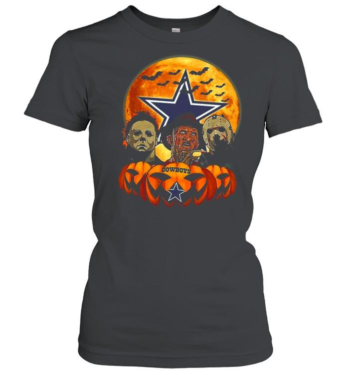 Dallas Cowboys Michael Myers and Freddy Krueger and Jason Voorhees Pumpkin Halloween shirt Classic Women's T-shirt