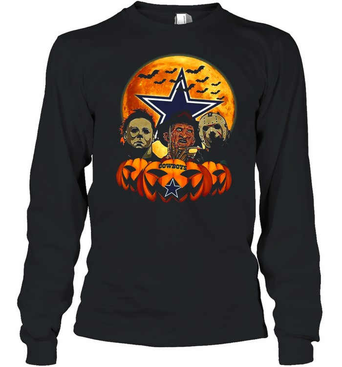 Dallas Cowboys Michael Myers and Freddy Krueger and Jason Voorhees Pumpkin Halloween shirt Long Sleeved T-shirt