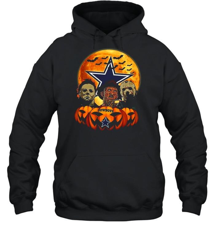 Dallas Cowboys Michael Myers and Freddy Krueger and Jason Voorhees Pumpkin Halloween shirt Unisex Hoodie