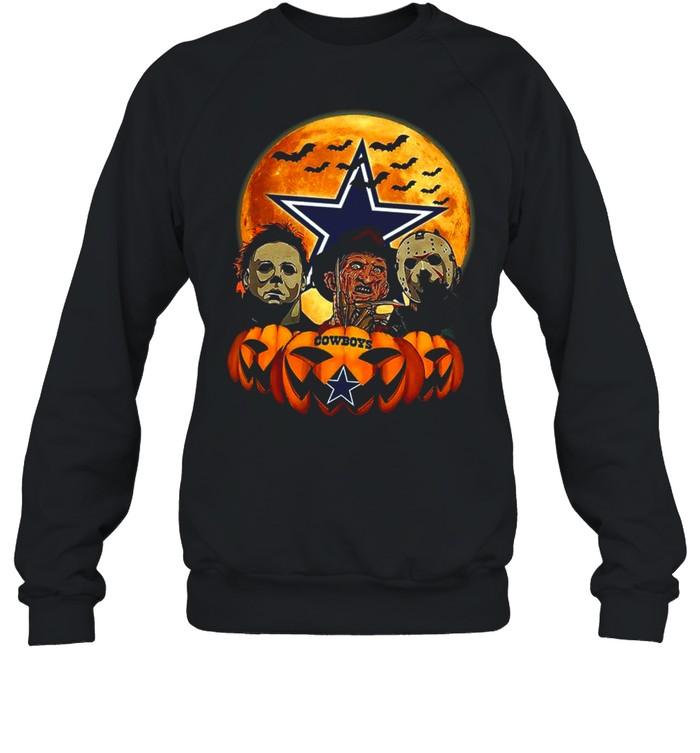 Dallas Cowboys Michael Myers and Freddy Krueger and Jason Voorhees Pumpkin Halloween shirt Unisex Sweatshirt