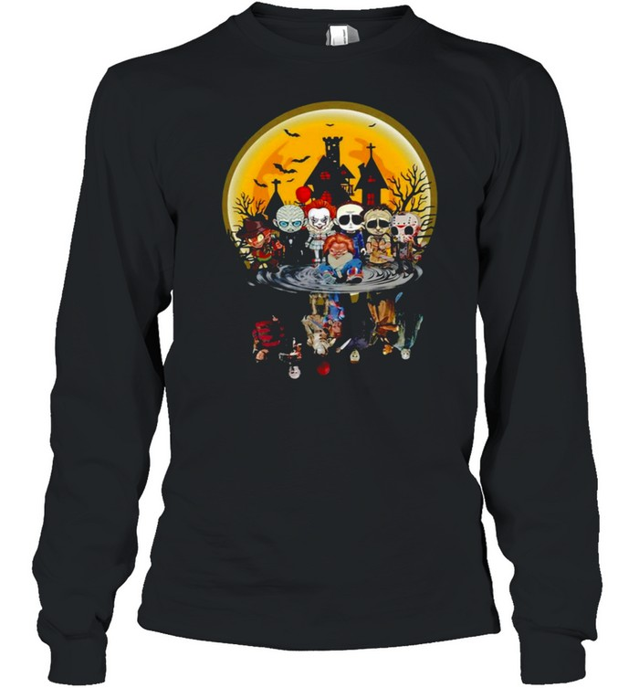 Horror Characters Water Effect Halloween Long Sleeved T-shirt