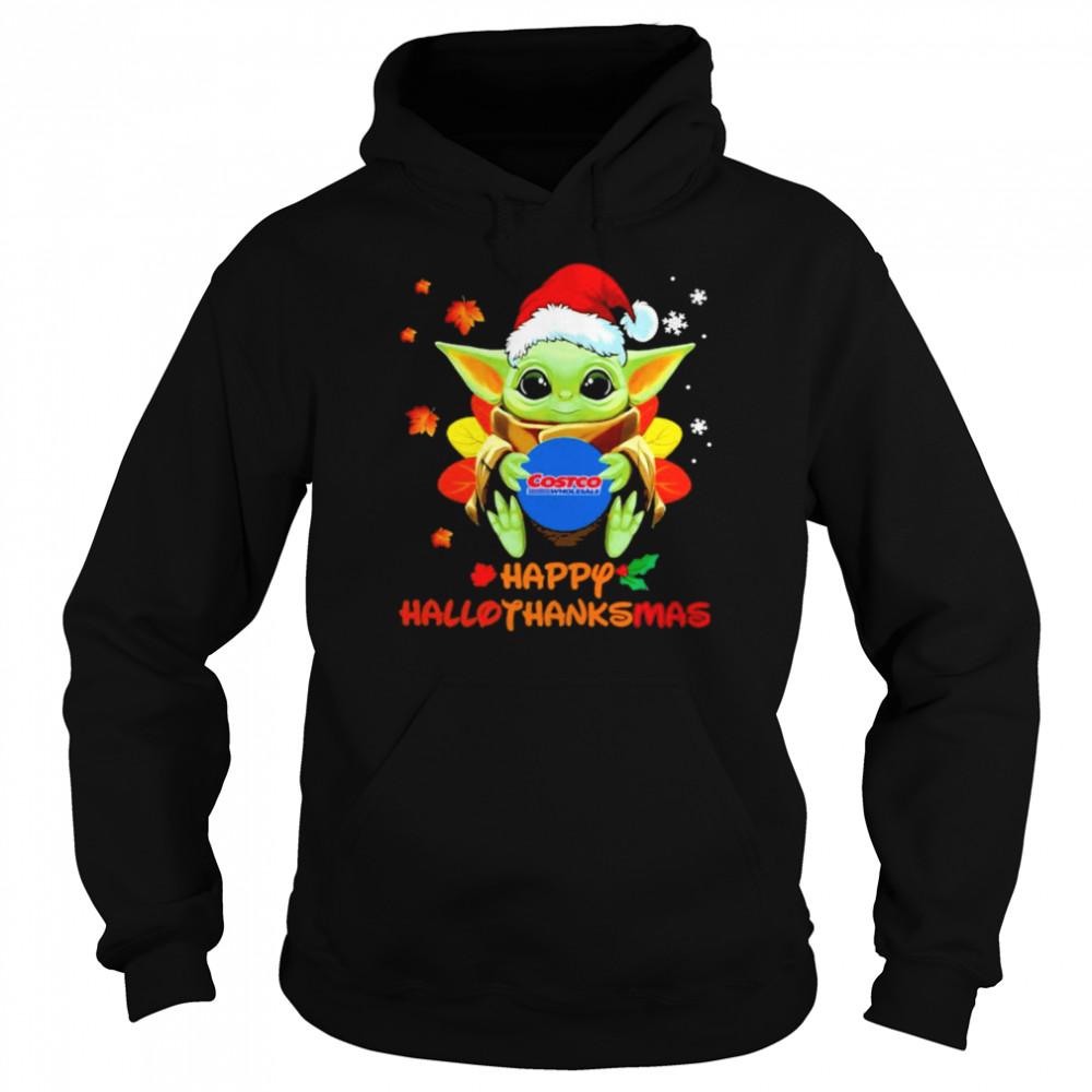 Baby Yoda hug Costo Wholesale Happy Hallothanksmas shirt Unisex Hoodie
