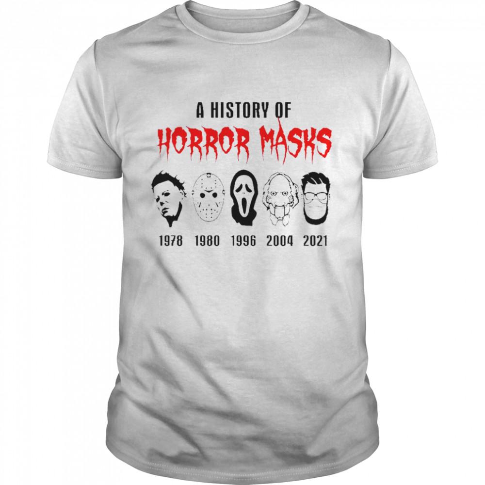 A history of Horror Masks 2021 Halloween bleach shirt