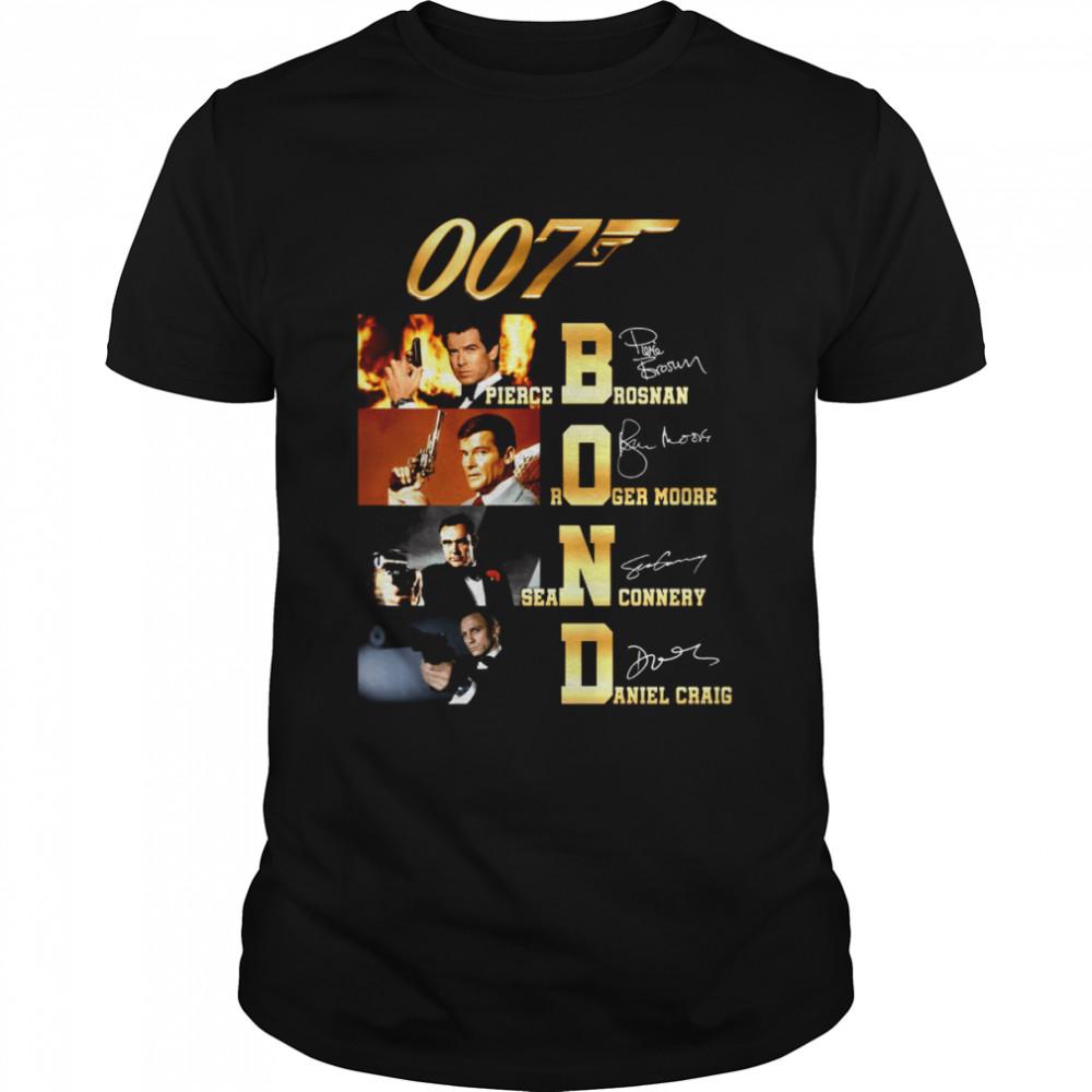 007t bond pierce brosnan roger moore sean connery daniel craig shirt