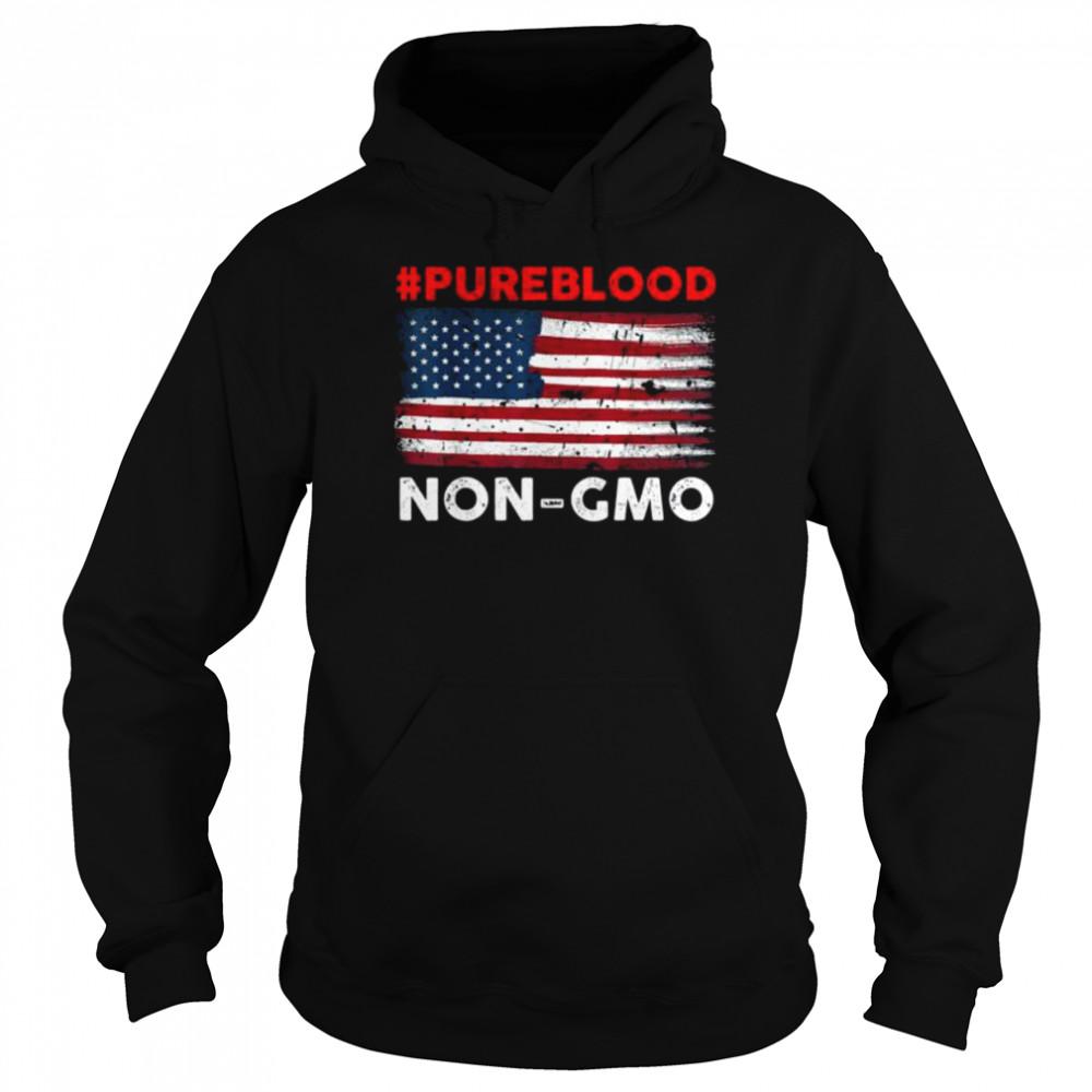 #Pureblood Non-Gmo American flag shirt Unisex Hoodie